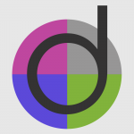 "Image is a circle with a small case ""d"" in the middle of split colored pie shapes with color scheme in purple, gray, blue and green."
