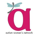 "Image is a large magenta lowercase letter ""a"" with a perching spoon-shaped dragonfly, gray with blue wings. Below the letter is the text ""autism women's network"" in dark gray."
