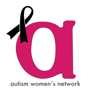 "Image is the AWN logo, a lower case pink ""a"" with a black ribbon perched on the upper left side, and the words, ""autism women's network"" below the image."