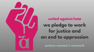 """Text reads: """"united against hate we pledge to work for justice and an end to oppression"""" awnnetwork.org (Image is a fist with an impression of the AWN logo centered bottom.)"""