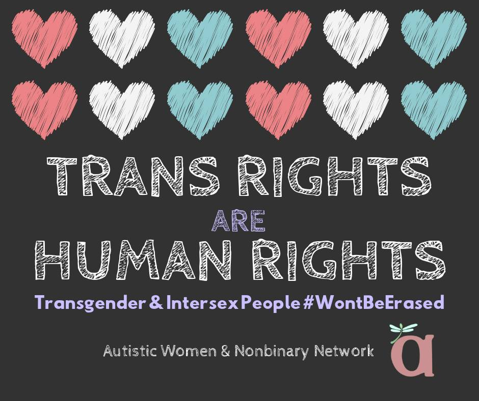 Image description: two rows of chalk-drawing style hearts in trans pride colors (pink, white, pale blue) on a dark gray background. Text in chalkboard font says: TRANS RIGHTS ARE HUMAN RIGHTS / Transgender & Intersex People #WontBeErased / Autistic Women & Nonbinary Network, with a small AWN logo