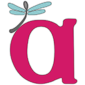 "Image is AWN's logo - a large magenta lowercase letter ""a"" with a perching spoon-shaped dragonfly, gray with blue wings."