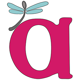 """Image is AWN's logo - a large magenta lowercase letter """"a"""" with a perching spoon-shaped dragonfly, gray with blue wings."""