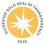"Image is a round gold and white seal from Guide Star with text around the outer circle saying "" GUIDESTAR GOLD SEAL OF TRANSPARENCY 2020"""