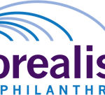 "Borealis logo which has alternating blue and grey lines arching over their name ""Borealis Philanthropy"""