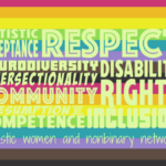 AWN word cloud set over the LGBTQ Pride Flag