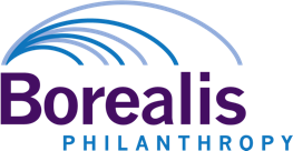 Logo for Borealis Philanthropy. Logo shows lines arcing out from a single point to go to different destinations.