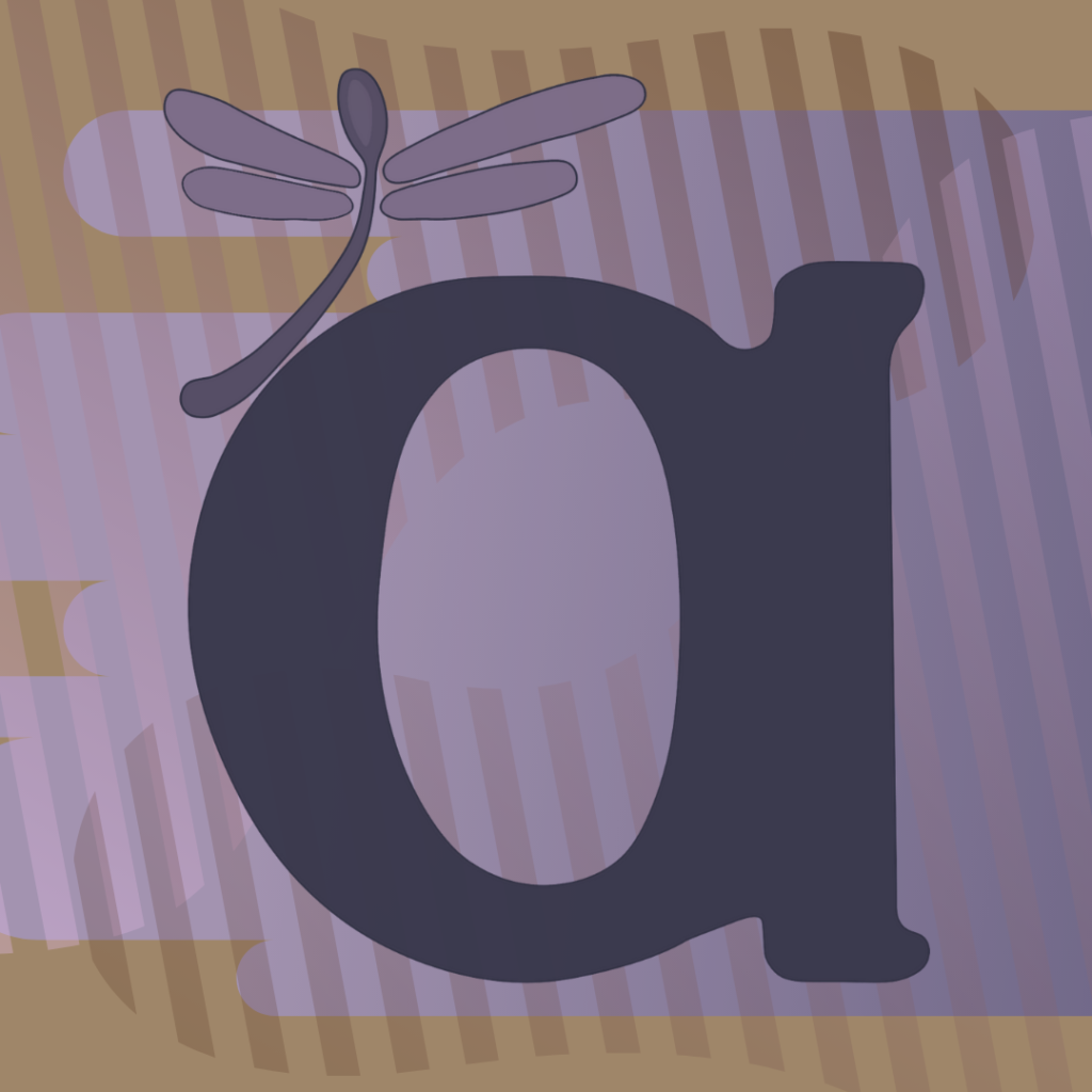 """Autistic Women & Nonbinary Network logo sepia background with lilac color over it, on top is a purple """"a"""" and a dragonfly shaped like a spoon"""