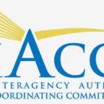 logo for IACC yellow stripe with name in blue